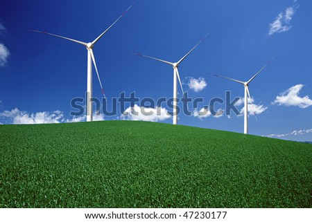 Wind Power and Beautiful Nature - stock photo