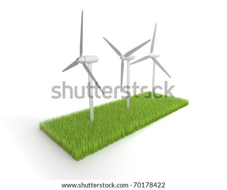 Wind Power. 3D illustration - stock photo