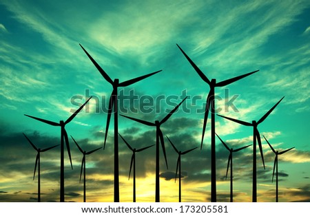 wind power - eco energy - stock photo