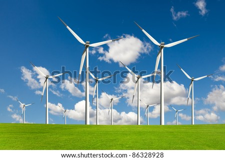 wind power energy - stock photo