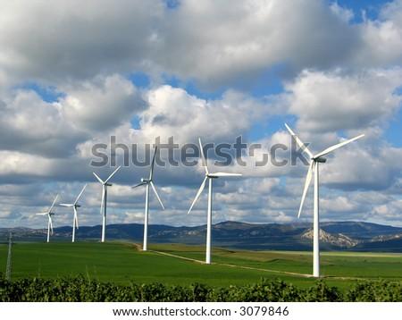 wind power energy generation - stock photo
