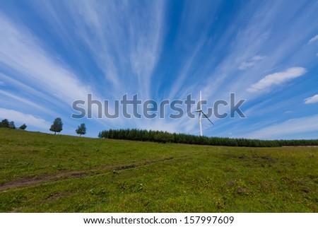 wind power generator on the grassland, Chengde, Hebei Province, north china - stock photo