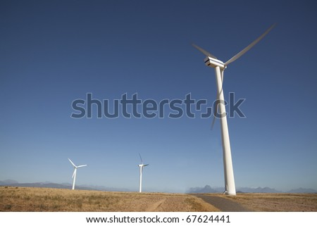 Wind power generators on a wind farm in the Western Cape, South Africa. - stock photo