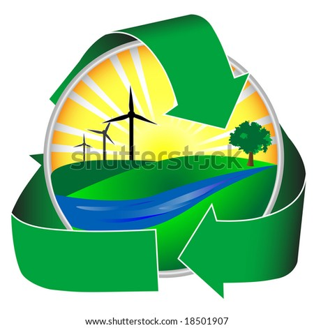 Wind power in a healthy environment. This icon depicts a river, green hills and trees in addition to sunshine and wind mills. - stock photo