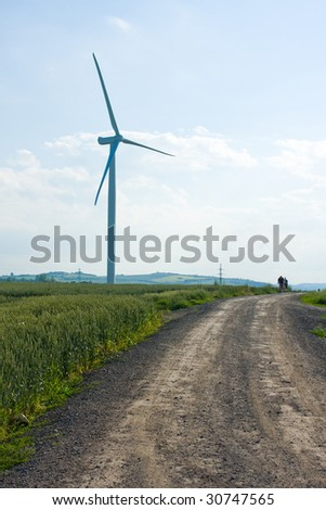 Wind power installation with blue sky
