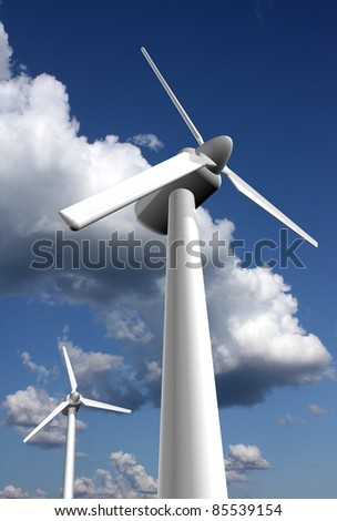 Wind power plants - stock photo