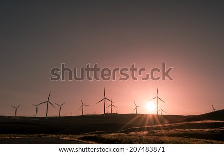 Wind power producing clean sustainable energy in a beautiful sunset - stock photo