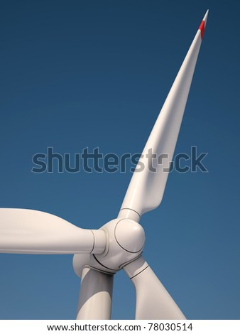 Wind power station against the blue sky - Power generation wind turbines - alternative energy 3d concept - stock photo