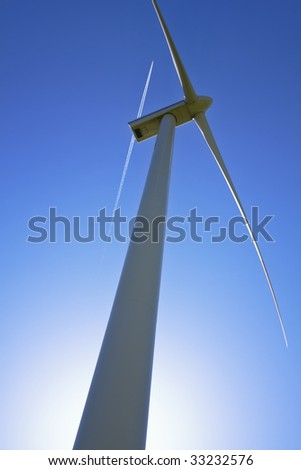 Wind power station against the sky