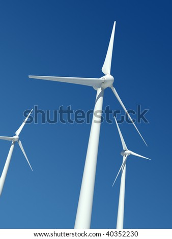 Wind power station, blue sky