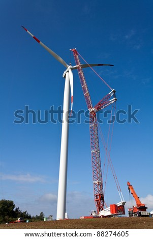 Wind power station in Construction - stock photo