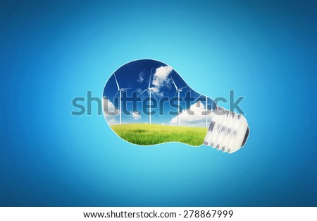 Wind power station in lamp. Ecological energy concept - stock photo