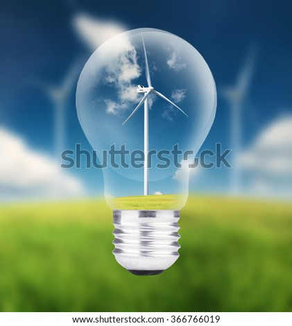 Wind power station in lamp. Ecological energy concept
