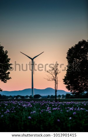 Wind Power Stations in Rhineland Palatinate germany in the Summer Evening Sun