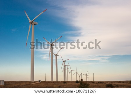 Wind power to produce electricity. Preserve the environment. Green energy sources in Lithuania. - stock photo