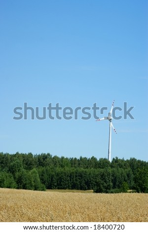 Wind power turbine blue sky and  fields of corn - stock photo