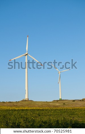 Wind Power Turbine on field