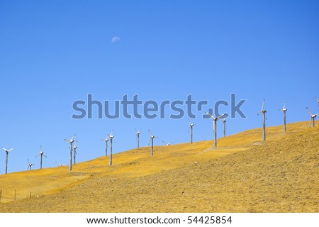 Wind powered electrical generators on a hillside in northern California