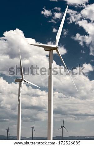 wind powered generators - stock photo