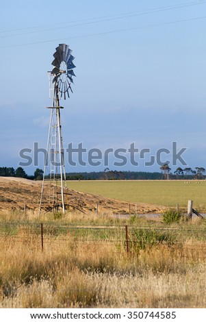 Wind powered water pump for irrigation of a farm field in New South Wales, Australia - stock photo