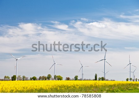 Wind powerplants countryside