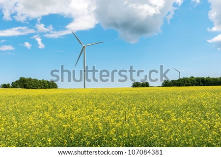 Wind propelled turbine generating electricity