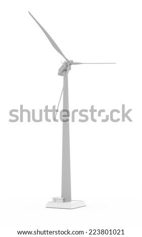 Wind propeller turbine rendered on white background