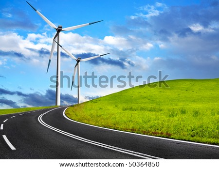 Wind road - stock photo