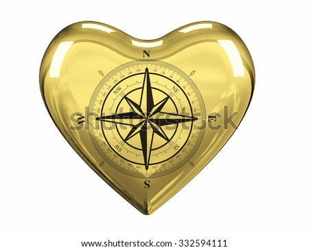 wind rose black-and-white with a scale, an arrow in the form of a star polygon and the notation of North, South, West, East, in the center, yellow heart, on a stand-alone  white background  - stock photo