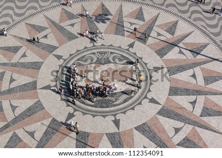 Wind Rose, Monument to the Discoveries, Lisbon, Portugal.