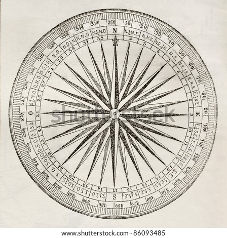 Wind rose old illustration. By unidentified author, published on Magasin Pittoresque, Paris, 1842 - stock photo