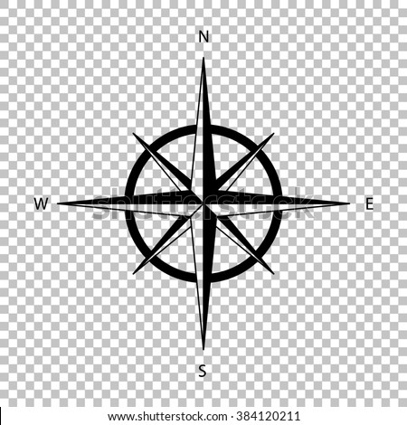 Wind rose sign. Flat style icon on transparent background - stock photo