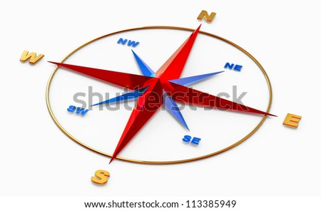 Wind rose symbol or compass for navigation on white background - stock photo