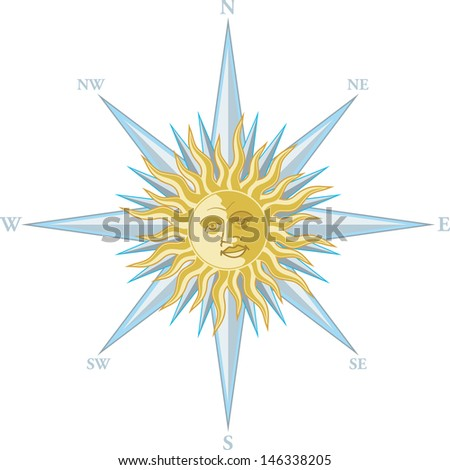 Wind rose with the image a smiling sun face - stock photo