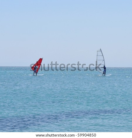 Wind surfing sport in the sea waves