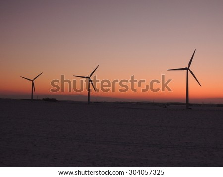 Wind - the main source of renewable energy in Denmark - stock photo