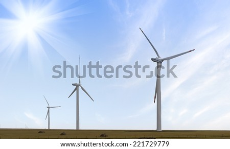 Wind turbine against mountain  - stock photo
