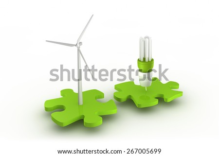 Wind turbine and light bulb connect - stock photo