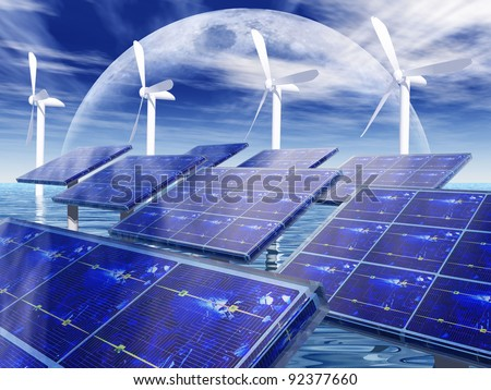 wind turbine and solar cell panels - stock photo
