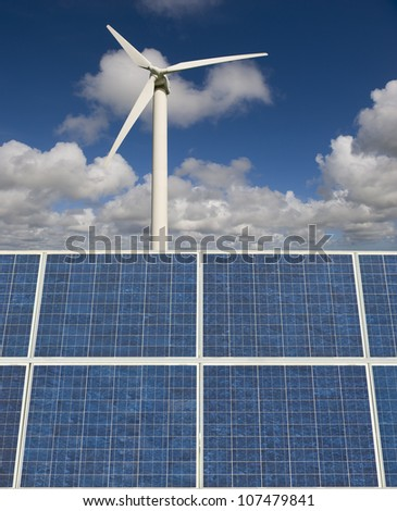 Wind turbine and solar panels. These are in Cornwall in the UK.