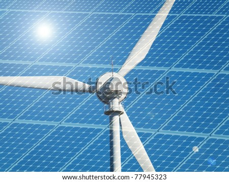 Wind turbine and sun - stock photo