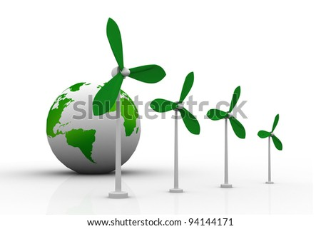 wind turbine and  world - stock photo