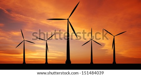 wind turbine at sunset background ecosystem for design