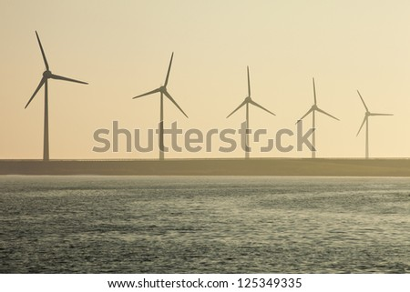 Wind turbine at the shore in the Netherlands