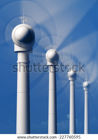 Wind Turbine blades spinning directly from the front - 3D artwork - stock photo