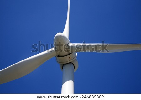 Wind turbine-close up view - stock photo