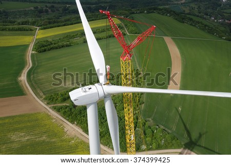 Wind Turbine Construction. Aerial view. - stock photo