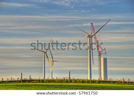 Wind Turbine Construction Site - stock photo