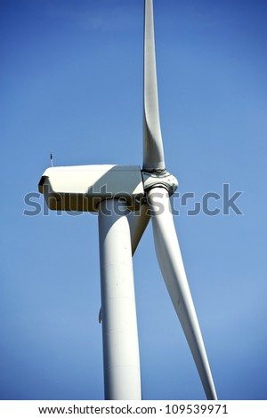 Wind Turbine Details - Turbine Closeup Photo. Renewal Alternative Nature Energy. Technology Photo Collection.