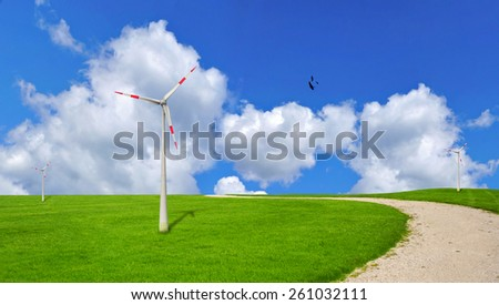 Wind turbine, ecology - stock photo